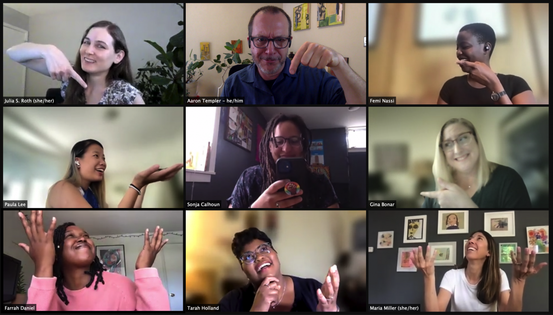 The Three Over Four core team having fun on zoom, per normal